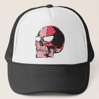 U.S. Flag Skull Trucker Hat