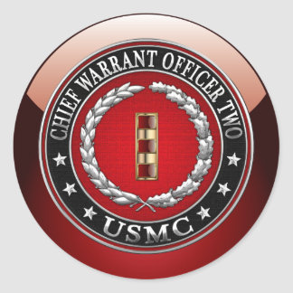 U.S. Marines: Chief Warrant Two (USMC CWO-2) [3D] Round Sticker