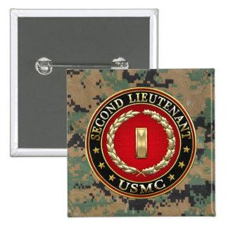 U.S. Marines: Second Lieutenant (USMC 2ndLt) [3D] 2 Inch Square Button