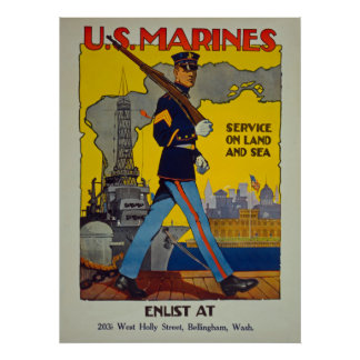U.S. Marines Service On Land And Sea Vintage Poster