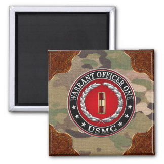 U.S. Marines: Warrant Officer One (USMC WO-1) [3D] Square Magnet