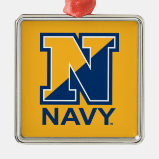 U.S. Navy | Navy Initial N Silver-Colored Square Ornament
