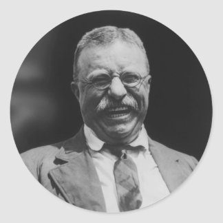 U.S. President Theodore Teddy Roosevelt Laughing Classic Round Sticker