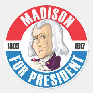 U.S. Presidents Campaign Button: #4 James Madison Round Sticker