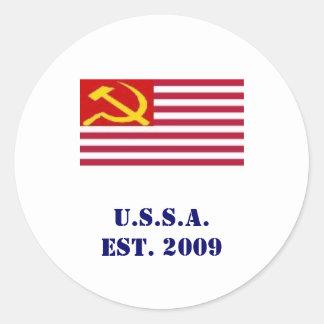 U.S.S.A.est. 2009 Classic Round Sticker