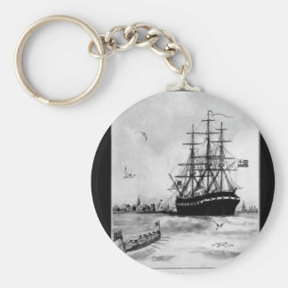 U.S.S. Alfred. The first battleship ever_War Image Basic Round Button Keychain