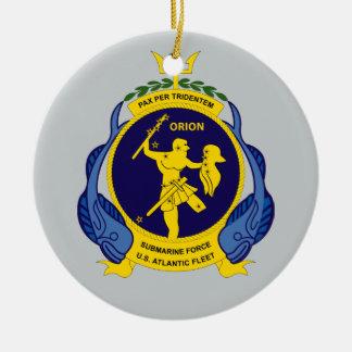 U.S.S. Orion AS-8 Pax Per Tridentem Round Ceramic Ornament