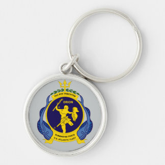 U.S.S. Orion AS-8 Pax Per Tridentem Silver-Colored Round Keychain
