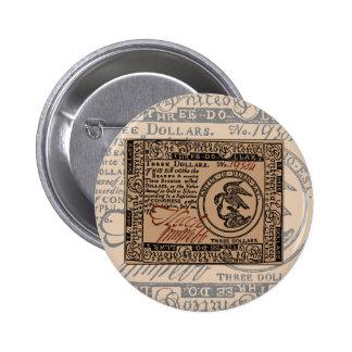 U S Three Dollar Bill - Button 2