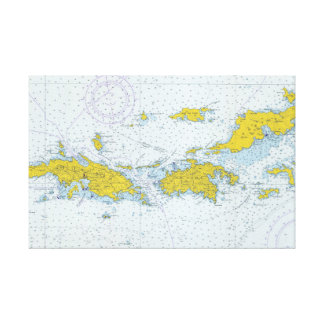 U.S. Virgin Islands nautical chart map Canvas Print