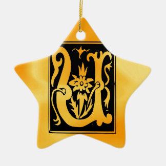 U-U Letter Love You Ceramic Star Ornament