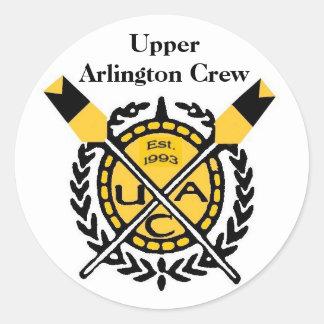 UA CREW emblem, EST. 1993-2, Upper Arlington Crew Classic Round Sticker