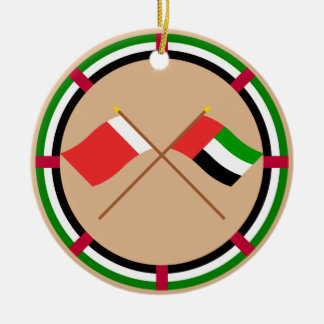 UAE and Dubai Crossed Flags Ceramic Ornament