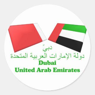 UAE & Dubai Flag Tiles Round Sticker