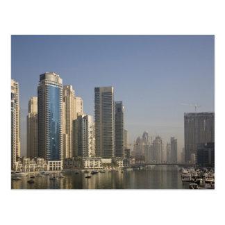 UAE, Dubai. Marina towers with boats at anchor. Postcard