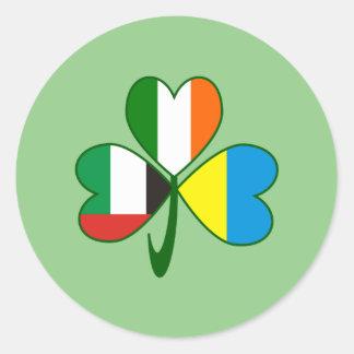 UAE Ukraine Ireland Shamrock Round Sticker