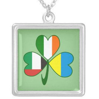 UAE Ukraine Ireland Shamrock Silver Plated Necklace