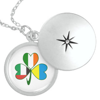 UAE Ukraine Ireland Shamrock Sterling Silver Necklace