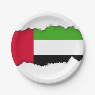 UAE United Arab Emirates Flag 7 Inch Paper Plate