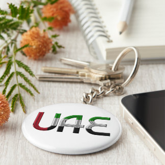 UAE United Arab Emirates Flag Colors Typography Basic Round Button Keychain