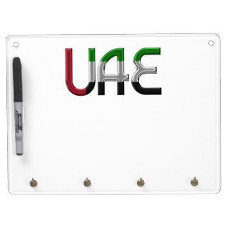UAE United Arab Emirates Flag Colors Typography Dry Erase Board With Keychain Holder