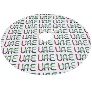 UAE United Arab Emirates Flag Colors Typography Fleece Tree Skirt