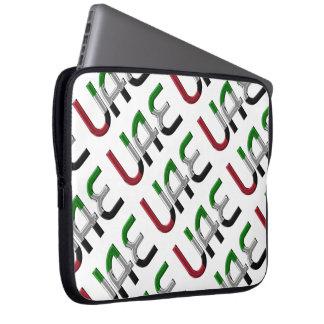 UAE United Arab Emirates Flag Colors Typography Laptop Sleeve