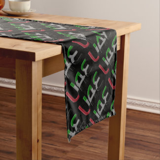 UAE United Arab Emirates Flag Colors Typography Long Table Runner