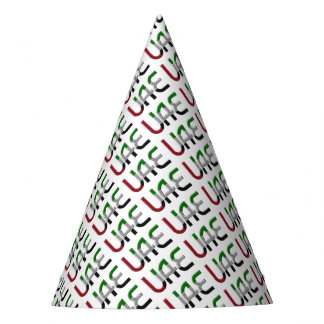 UAE United Arab Emirates Flag Colors Typography Party Hat