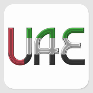 UAE United Arab Emirates Flag Colors Typography Square Sticker