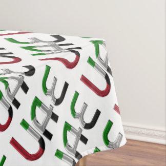 UAE United Arab Emirates Flag Colors Typography Tablecloth