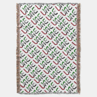 UAE United Arab Emirates Flag Colors Typography Throw Blanket