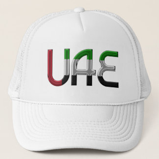 UAE United Arab Emirates Flag Colors Typography Trucker Hat