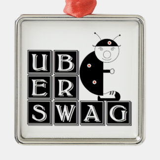 Uberswag ladybird Bernie Silver-Colored Square Ornament