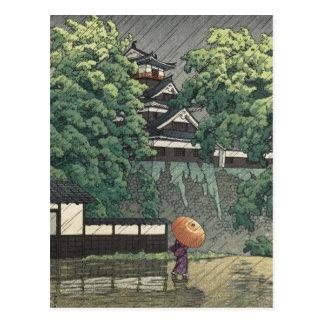 Udo Tower, Kumamoto Castle in Rain - Kawase Hasui Postcard