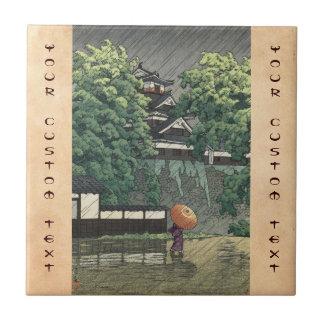 Udo Tower, Kumamoto Castle in rain Kawase Hasui Tile