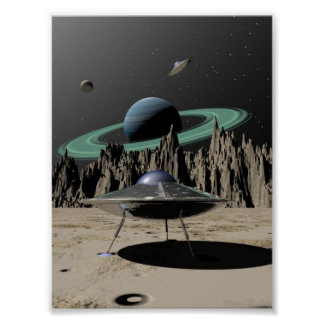 UFO - 50's SciFi Kitch (by Kristel R. Sitz) Poster