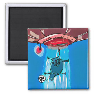 ufo abduction cow cartoon style funny illustration magnet