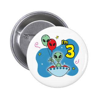 UFO Alien 3rd Birthday Pinback Button