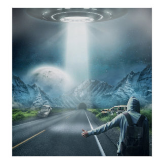 ufo alien spaceship and hitchhiker surreal fantasy poster