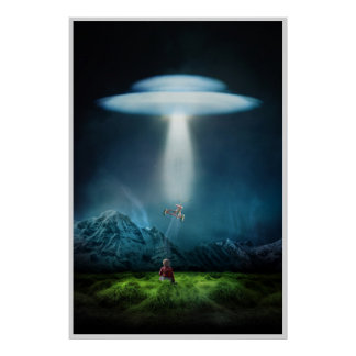 ufo and child in field at night poster