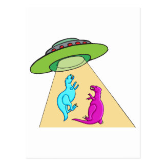 UFO Beams Up Dinosaurs Postcard