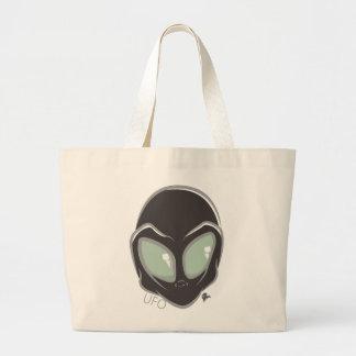 UFO Black Galactic Martian Alien Head Large Tote Bag