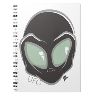 UFO Black Galactic Martian Alien Head Note Books