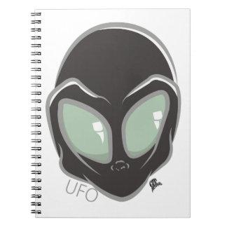 UFO Black Galactic Martian Alien Head Notebooks