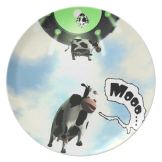 UFO Cow Abduction Plate