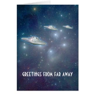 """UFO """"Far Away"""" Greeting Card"""
