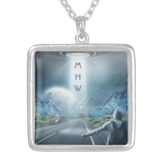UFO Hitchhiker custom monogram necklace