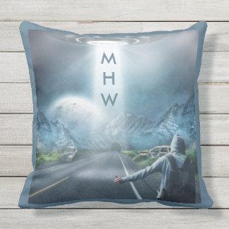 UFO Hitchhiker custom monogram throw pillows