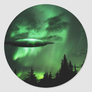UFO in green clouds Classic Round Sticker